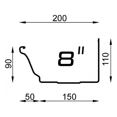 Polyline 8 inch naadloze aluminium dakgoot
