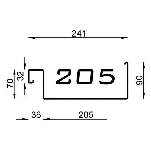 Polyline bakgoot 205